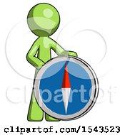 Green Design Mascot Man Standing Beside Large Compass