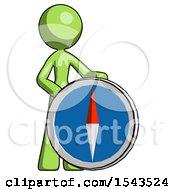 Green Design Mascot Woman Standing Beside Large Compass