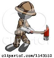 Gray Explorer Ranger Man With Ax Hitting Striking Or Chopping