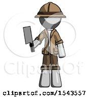 Gray Explorer Ranger Man Holding Meat Cleaver