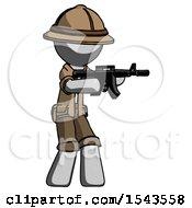 Gray Explorer Ranger Man Shooting Automatic Assault Weapon