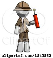 Gray Explorer Ranger Man Holding Dynamite With Fuse Lit