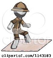 Gray Explorer Ranger Man On Postage Envelope Surfing