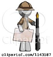 Gray Explorer Ranger Man Holding Large Envelope And Calligraphy Pen