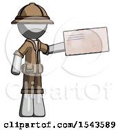 Gray Explorer Ranger Man Holding Large Envelope