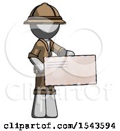 Gray Explorer Ranger Man Presenting Large Envelope