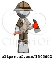 Gray Explorer Ranger Man Holding Red Fire Fighters Ax