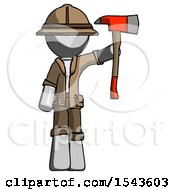Gray Explorer Ranger Man Holding Up Red Firefighters Ax