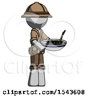 Gray Explorer Ranger Man Holding Noodles Offering To Viewer