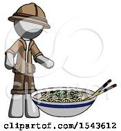Gray Explorer Ranger Man And Noodle Bowl Giant Soup Restaraunt Concept