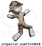 Gray Explorer Ranger Man Running Away In Hysterical Panic Direction Right