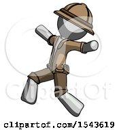 Gray Explorer Ranger Man Running Away In Hysterical Panic Direction Left