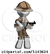 Gray Explorer Ranger Man Tommy Gun Gangster Shooting Pose