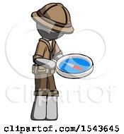 Gray Explorer Ranger Man Looking At Large Compass Facing Right