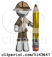 Gray Explorer Ranger Man With Large Pencil Standing Ready To Write