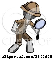 Gray Explorer Ranger Man Inspecting With Large Magnifying Glass Right
