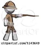 Gray Explorer Ranger Man Pointing With Hiking Stick