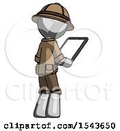 Gray Explorer Ranger Man Looking At Tablet Device Computer Facing Away