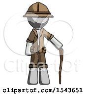 Gray Explorer Ranger Man Standing With Hiking Stick