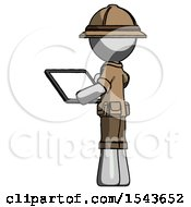Gray Explorer Ranger Man Looking At Tablet Device Computer With Back To Viewer
