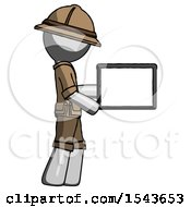 Gray Explorer Ranger Man Show Tablet Device Computer To Viewer Blank Area