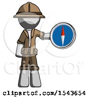 Gray Explorer Ranger Man Holding A Large Compass