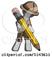 Gray Explorer Ranger Man Writing With Large Pencil
