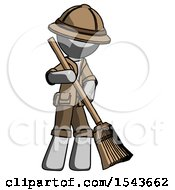 Gray Explorer Ranger Man Sweeping Area With Broom