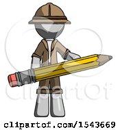 Gray Explorer Ranger Man Writer Or Blogger Holding Large Pencil