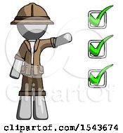 Gray Explorer Ranger Man Standing By List Of Checkmarks