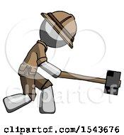 Gray Explorer Ranger Man Hitting With Sledgehammer Or Smashing Something