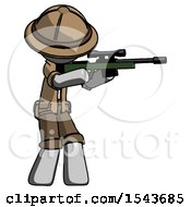 Gray Explorer Ranger Man Shooting Sniper Rifle