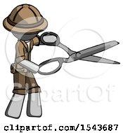 Gray Explorer Ranger Man Holding Giant Scissors Cutting Out Something