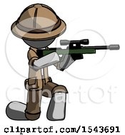 Gray Explorer Ranger Man Kneeling Shooting Sniper Rifle