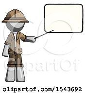 Gray Explorer Ranger Man Giving Presentation In Front Of Dry Erase Board