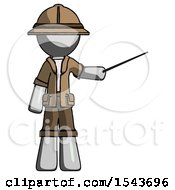 Gray Explorer Ranger Man Teacher Or Conductor With Stick Or Baton Directing