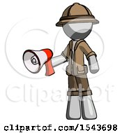 Gray Explorer Ranger Man Holding Megaphone Bullhorn Facing Right