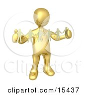 Gold Person Such As A Boss Or Manager Holding A Strand Of Paper People Symbolizing Control Or Teamwork Clipart Illustration Image by 3poD