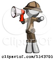 Gray Explorer Ranger Man Shouting Into Megaphone Bullhorn Facing Left