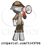 Gray Explorer Ranger Man Shouting Into Megaphone Bullhorn Facing Right