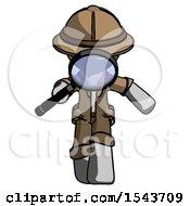 Gray Explorer Ranger Man Looking Down Through Magnifying Glass