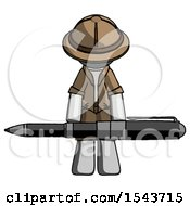 Gray Explorer Ranger Man Weightlifting A Giant Pen