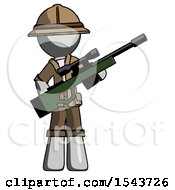 Gray Explorer Ranger Man Holding Sniper Rifle Gun
