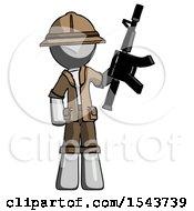 Gray Explorer Ranger Man Holding Automatic Gun