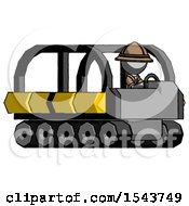 Gray Explorer Ranger Man Driving Amphibious Tracked Vehicle Side Angle View