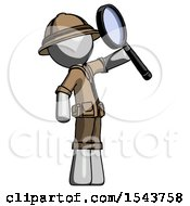 Gray Explorer Ranger Man Inspecting With Large Magnifying Glass Facing Up