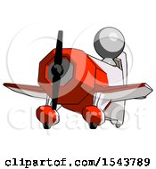 Gray Design Mascot Man Flying In Geebee Stunt Plane Viewed From Below