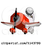 Gray Design Mascot Woman Flying In Geebee Stunt Plane Viewed From Below