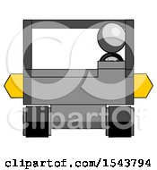 Gray Design Mascot Woman Driving Amphibious Tracked Vehicle Front View