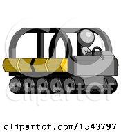 Gray Design Mascot Man Driving Amphibious Tracked Vehicle Side Angle View